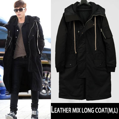 韓国人気俳優ホンジョンヒョン空港ファッションst.LEATHER MIX LONG COAT(M,L)-copy