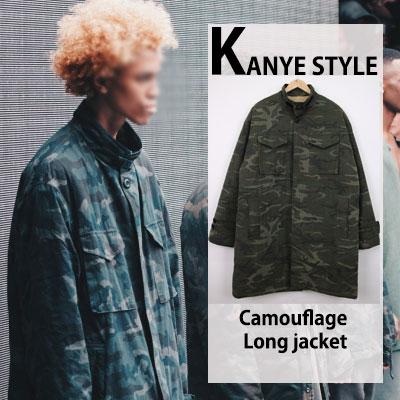 KANYE FAHION STYLE! 裏ボア迷彩ロングジャケット/カモロングジャケット