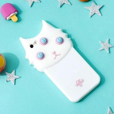 3Dシロネコスマホケース/かわいい白猫スマホケース/iPhoneスマホケース/アイフォーンケースiPhone6/iPhone6+/iPhone6s