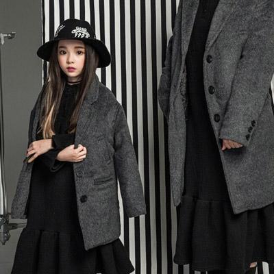 韓国子供服 [LIPOP/OVER FIT BIG COAT]冬にこれでスタイルアップ!オーバー・フィットコート(Charcoal)/With mom
