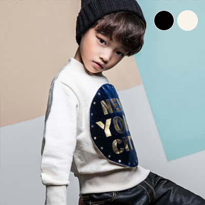 韓国子供服 [LIPOP/NEW YORK CITY MTM]シンプルながらオシャレ★ニューヨークシーティースウェットシャツ(BLACK,IVORY)