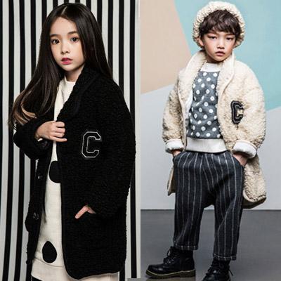 韓国子供服 [LIPOP/BOUCLE COAT]暖かさプラス!ブークルコート(BLACK,IVORY)
