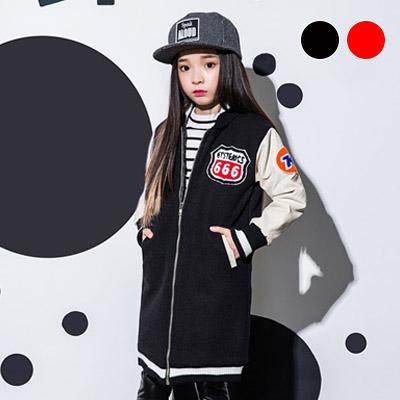 韓国子供服 [LIPOP/BIG LONG BASEBALL JUMPER] カジュアルにお出かけしよう!ビッグロングジャンパー(BLACK,RED)
