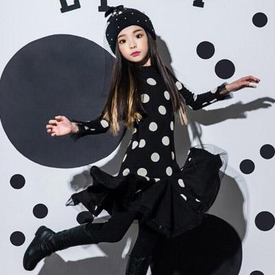 韓国子供服 [LIPOP/ALICE FRILL DRESS]アリスのように可愛らしく♥ドットフリルワンピース( BLCAK)