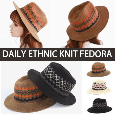 ボヘミアンの自由が感じられる日常のデイリーエスニックニットフェドラ/Daily Ethnic Knit Fedora