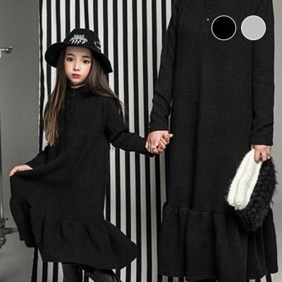 韓国子供服 [LIPOP/BIG LONG FRILL DRESS]大人っぽい子供ワンピース★ロングフリルワンピース(Black, Melange)/With mom