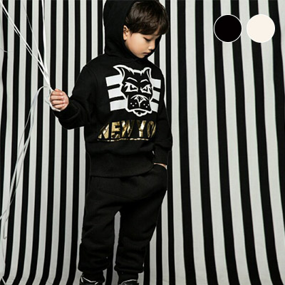 韓国子供服 [LIPOP/NEW YORK DOG SET]ニューヨークドッグパーカ+パンツ上下セット(Ivory, Black)