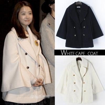 韓国の人気女優パク・ボヨン私服スタイル!ダブルブレストケープコート(WHITE,NAVE)