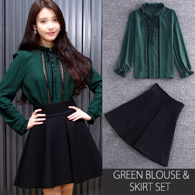 韓国の国民の妹アイユ(I.U )ファッションスタイル!グリーンブラウススカートセット