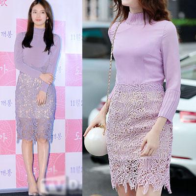 韓国ガールズグループMISS Aスジ(SUJI)ファッションスタイル!バイオレットレースドレス(S,M,L)