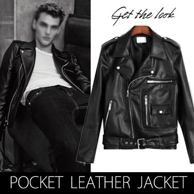SD STYLE!ポケットポイントフェイクレザーライダースジャケット(M,L)/Fake leather riders jacket pocket point