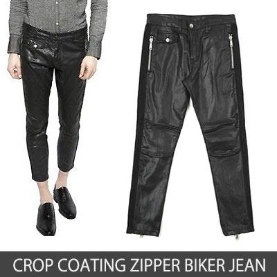 D2 STYLE!クロムコーティングサイドジッパーバイカージーンズ(S,M,L)/CROP COATING ZIPPER BIKER JEAN