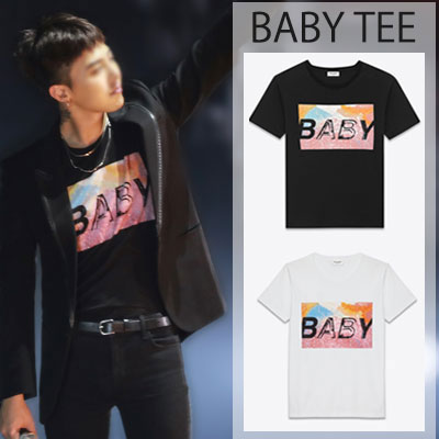 S.L STYLE!BIGBANG【MADE】2015 WORLD TOUR*G-DRAGONスタイル!ベビーロゴプリント半袖Tシャツ(BALCK,WHITE)/BABY LOGO SHORT SLEEVE T-SHIRTS
