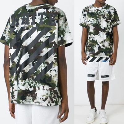 オシャレな斜線シグネチャロゴホワイトミックスカモ半袖Tシャツ/WHITE MIX CAMO SHORT SLEEVE T-SHIRTS