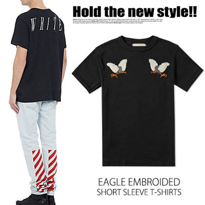 OFF STYLE!イーグル刺繍半袖TシャツEAGLE EMBROIDED SHORT SLEEVE T-SHIRTS