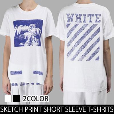 ペンスケッチプリントが魅力的なペンのタッチプリント半袖Tシャツ(BLACK,WHITE)/SKETCH PRINT SHORT SLEEVE T-SHRITS