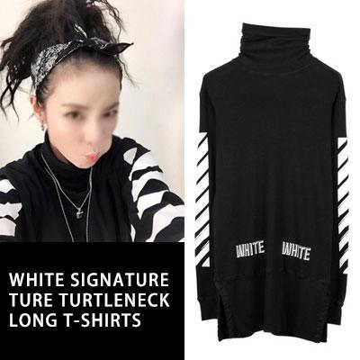 ★2NE1 SANDARA STYLE!★ヨーロピアンスタイル!ホワイトシグネチャタートルネックロングTシャツ(BLACK,WHITE)