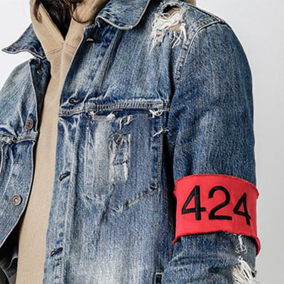 アーム部分にレッド腕章がポイント!!ヴィンテージディストリロイドレッドアームバンドデニムジャケット(M,L)