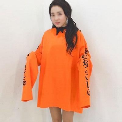 ★2ne1 SANDARA st.★オレンジ・ホワイト色追加★16SSオーバーサイズオールドイングリッシュロゴスウェットシャツ-copy