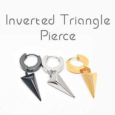 △逆三角モチーフピアス(1個)/INVERTED TRIANGLE PIERCE(1ea)/シルバー、ゴールド、ブラック