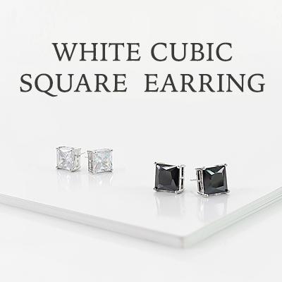 ホワイトスクエアキュービックイヤリング(両耳用)/BTOBスタイル/WHITE CUBIC SQUARE EARRING(2COLORS)/0.8cm/1cm