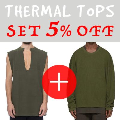 5% OFF 2点セット/サーマル(ワッフル)生地のクルーネック長袖Tシャツ×ディープVネックスリーブレス(3COLORS)