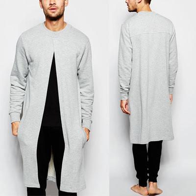 ユニークデザイン!フロントオープンスタイルロングスウェットシャツ/カーディガンスウェットシャツ(BLACKGREY) Front at ASOS