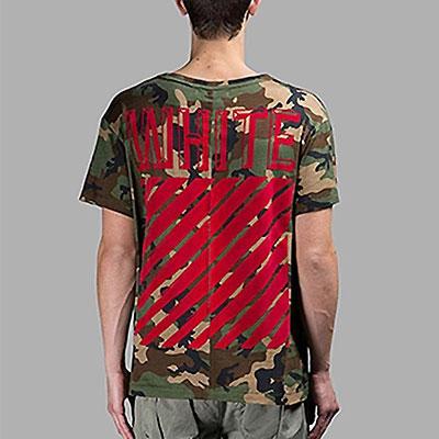 シグネチャRED LINEロゴプリントが目立つカモ半袖Tシャツ/RED LINE WHITE LOGO CAMO TEE