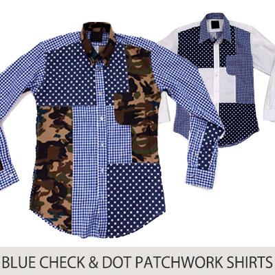 スマートな感じのブルードット&チェックパターンのパッチワークシャツ(CAMO,DOT)