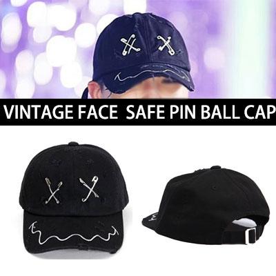 BIGBANG G-DRAGON,2NE1 SANDARA,BlockB ZICOファッションスタイル!VINTAGE FACE SAFE PIN BALL CAP