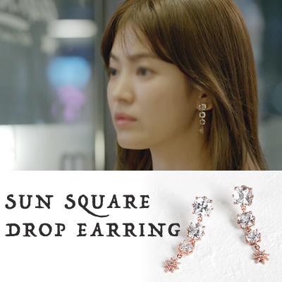 ソン・ヘギョファッション/SUN SQUARE DROP EARRING(3COLORS)