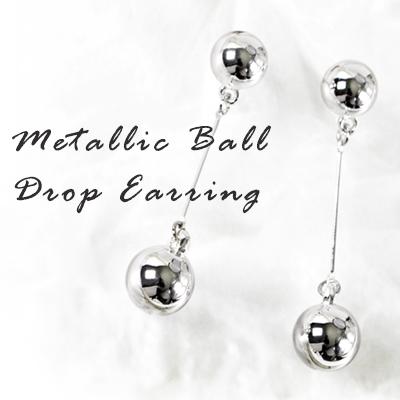 メタリックボールドロップイヤリング/METALLIC BALL DROP EARRING(3COLORS)