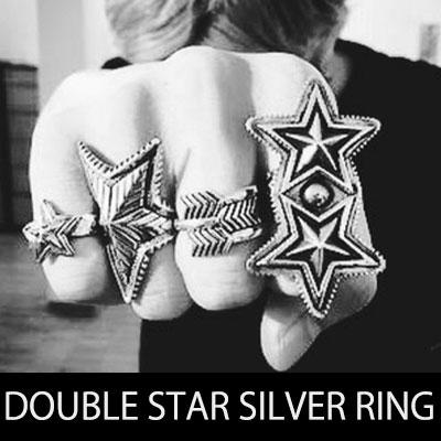 高級シルバー/ダブルスターシルバーリング/DOUBLE STAR SILVER RING