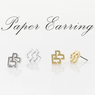 ユニークなフォルム/ペーパーイヤリング/PAPER EARRING(2COLORS)/GOLD,SILVER
