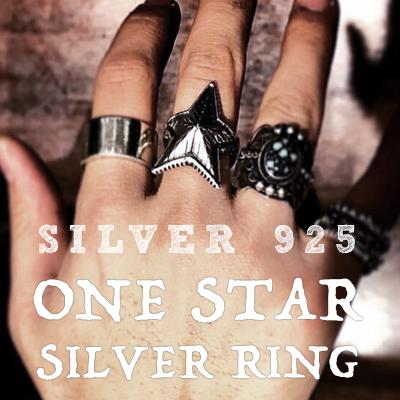 ワンスターシルバーリング/ONE STAR SILVER RING/スターリングシルバー Sterling silver 92.5%
