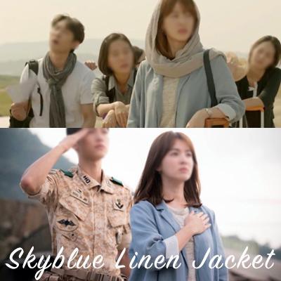 韓国ドラマ[太陽の末裔]ソン・ヘギョファッション/スカイブルーリネンジャケット/SKYBLUE LINEN 100% JACKET/FREE SIZE
