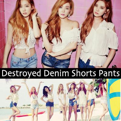 少女時代ファッション/ディストロイドデニムショートパンツ/(S,M,L)/カットオフ・ダメージデニムショートパンツ/ショーパン/レディース