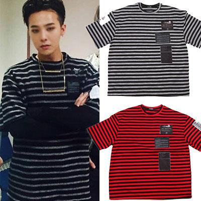 ★半袖VER★BIGBANG G-DRAGON STYLE!!フォトパッチ長袖がシンプルな半袖バージョンで登場!フォトパッチストライプ半袖Tシャツ(RED,BLACK)