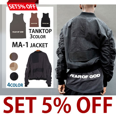 ★SET5% OFF★ハイクオリティアイテムセット特価★バックロゴプリントロングタンクトップ+パッチワークMA-1ジャケット