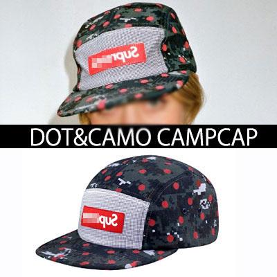 カモパターンにレッドドットが魅力的なシグネチャパッチキャンプキャップ/DOT&CAMO CAMPCAP