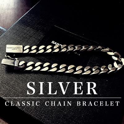高品質アクセサリー/Slpシルバーシンプルクラシックチェーンブレスレット/SILVER SIMPLE CLASSIC CHAIN BRACELET