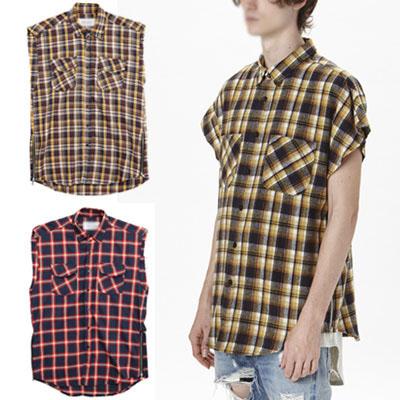 ストリートスピリット感性が溢れるサイドジッパースリーブレスプレイドシャツ/チェックシャツ/ネルシャツ袖なし/ノースリーブネルシャツ