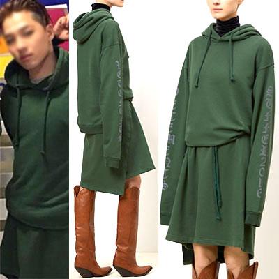 ★リミテッド★BIGBANG SOL テヤン STYLE!グリーンオーバーサイズフィットロングフードドレス
