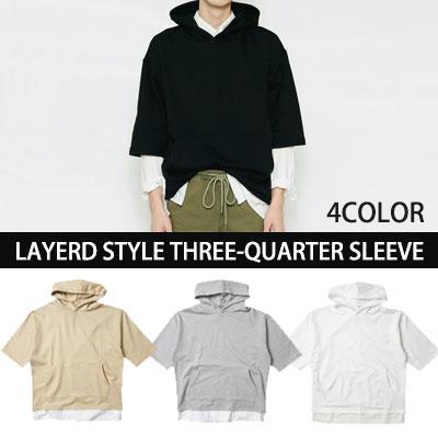 [BASIC SIMPLE LINE]★企画特価★レイヤードオーバーサイズスタイル七分袖プルオーバーパーカー(WHITE,BLACK,GREY,BEIGE)