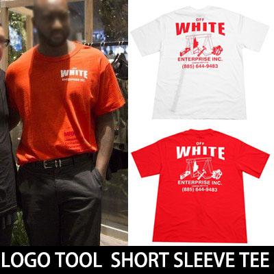 カニエ・ウェストのスタイルWHITEロゴ&ツール半袖Tシャツ(RED,WHTIE)