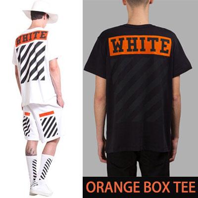 ホワイトロゴオレンジボックス半袖Tシャツ/WHITE  ORANGE BOX LOGO 1/2 TEE