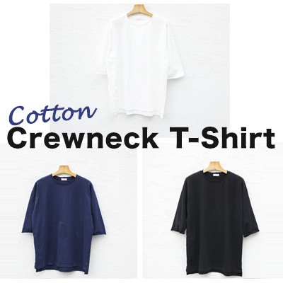 [BASIC SIMPLE LINE]メンズ無地カットソー/7分袖コットンクルーネックTシャツ/サイドスリットシャツ(3COLORS)
