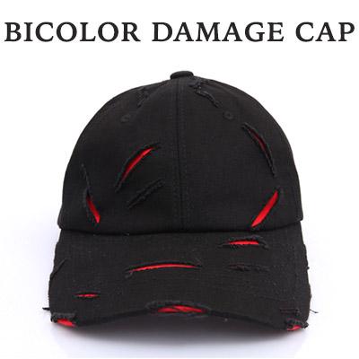 バイカラー配色 ダメージボールキャップ/BASEBALL CAP(2COLORS)/おしゃれ帽子
