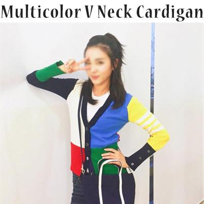 ニットVネックカーディガン/カラーブロックカーディガン/マルチカラー(S,M,L)/2ne1 ダラ/SANDARAファッション/レディース
