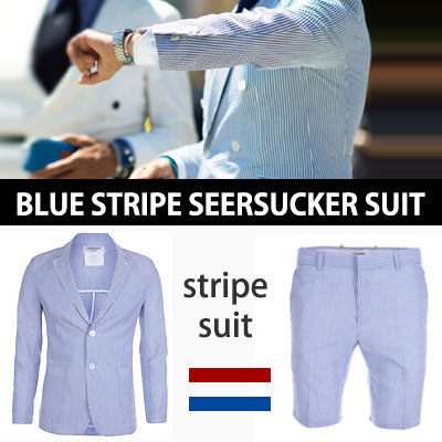 (SET 5% OFF)LUXURY STYLE!夏向けのシアサッカー素材!ブルーストライプスーツ(ジャケット/パンツ/スーツセット)-copy